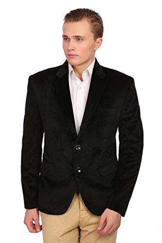 Wintage Men's Velvet Two Buttoned Notch Lapel Party Black Coat Blazer Cotton Velvet Coat