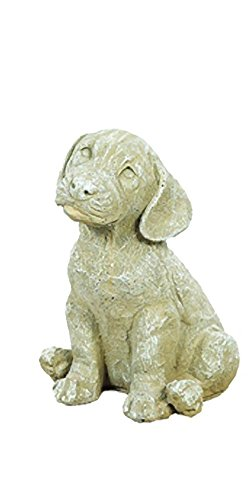 Solid Rock Stoneworks Sad Puppy Stone Statue 9in Tall Desert Sand Color (Cast Stone Dog)