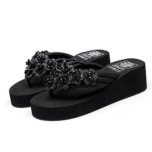 Sandals Wedge High Heels Summer Female Manual Elastic Fabric TPR Thick Sole Slippers Clip Toe Black bVU0I6i