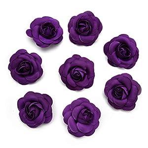 Fake flower heads in bulk wholesale for Crafts Artificial Silk Rose Tea Bud Flowers Head for Wedding Decoration DIY Garland Gift Box Scrapbooking Crafts Fake Flowers 20PCS 5CM (Dark Purple) 33