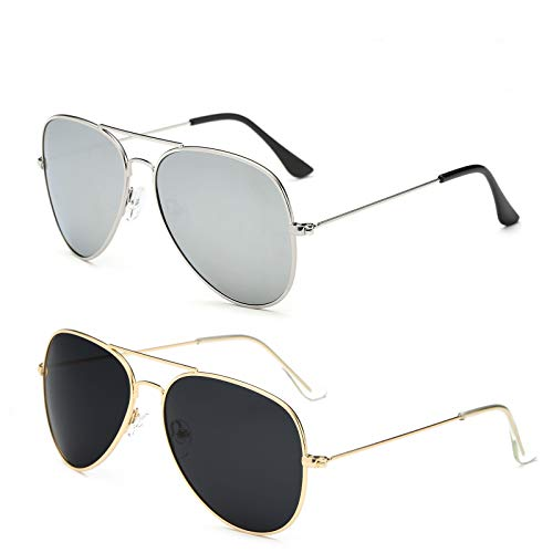 YOSHYA Aviator Sunglasses for Mens Womens Mirrored Sun Glasses Shades with Uv400 (Silver + Gold Grey) ()