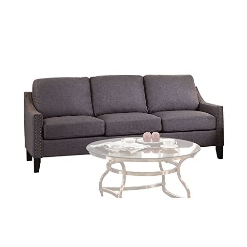 Farmhouse Living Room Furniture ACME Furniture 53755 Zapata Junior Sofa, Gray Linen farmhouse sofas and couches