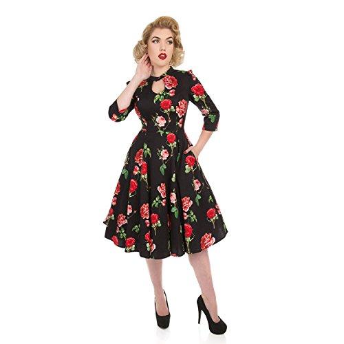 Valentino Rose Abito Vintage San Floreale Hearts Svasata da Roses 1950s Tè amp; Londinese Retrò FxqnfIApw