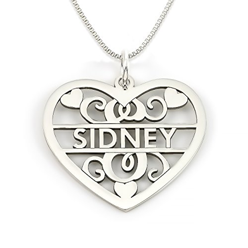 ling Silver Fancy Heart Initial and Name Necklace. Choice of 925, 14k Gold Plate, or Rose Gold Plate Over Sterling Silver (Custom Personalized Monogram)