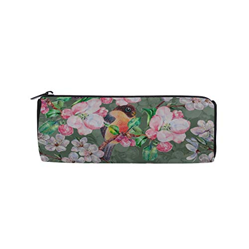 Beautiful Flowers and Colorful Birds Students Super Large Capacity Barrel Pencil Case Pen Bag Cotton Pouch Holder Makeup Cosmetic Bag for Kids