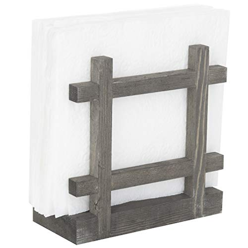 Rustic Wood Cross-Corner Napkin Holder, Table Top Paper Towel Dispenser, Vintage ()