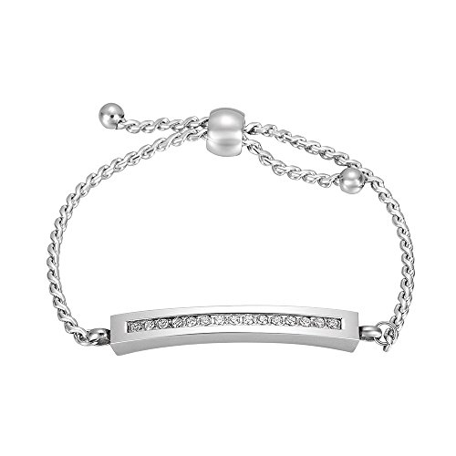 Charm Multi-colored Stainless Steel Crystal Cremation Bracelet Ashes Holder Keepsake Jewelry (Steel)