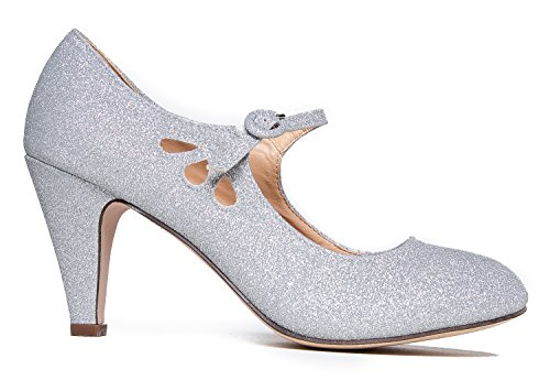 Strap Round Glitter Vintage Mary J Pixie Jane With Ankle Pumps Shoe By Toe Heels Silver Adams Retro Low Kitten Ux0w7Xg0q