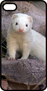 Dark Eyed Ferret Standing on a Rock Black Rubber Case for iPhone 4 or iPhone 4s Kimberly Kurzendoerfer