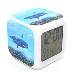 BoFy Led Alarm Clock Great White Shark Ocean Animal Pattern Personality Creative Noiseless Multi-functional Electronic Led Lights Desk Table Digital Alarm Clock for Unisex Adults Kids Toy Gift