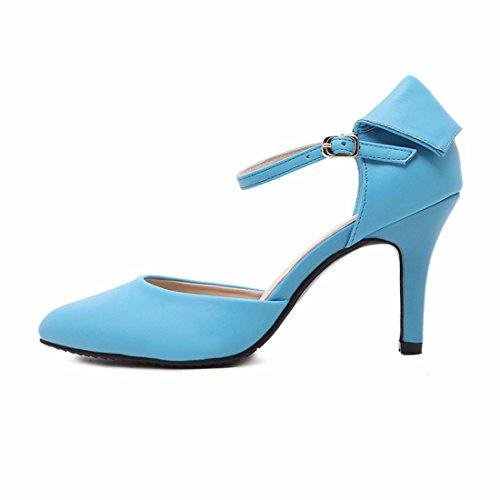 QIYUN.Z Verano Nuevas Mujeres Del Dedo Del Pie Puntiagudo Correa Del Tobillo De Los Estiletes De Verano De Los Zapatos De Tacon Alto Azul