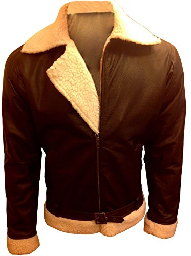 Leather Jacket Men Sylvester Stallone Rocky Balboa Brown Fur Collar (M)