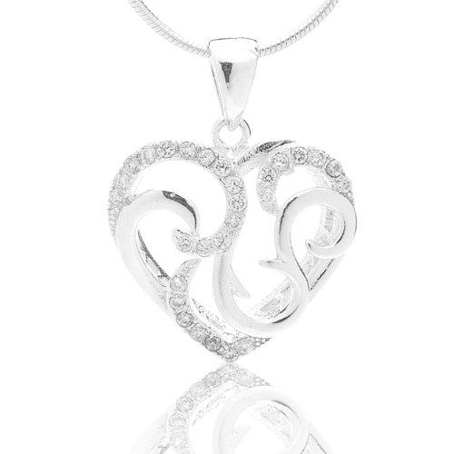 (Chuvora 925 Sterling Silver Cubic Zirconia CZ Elegant Heart Swirl Pendant Necklace, 18 inches - Nickel Free)