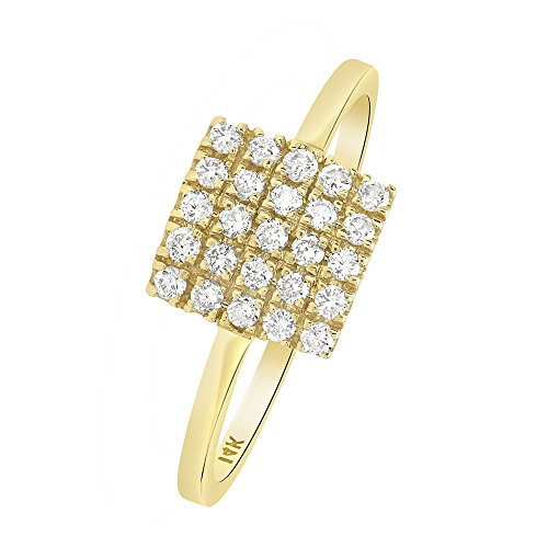 Square Shape Diamond Accented Ring - 6