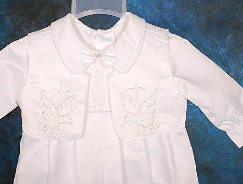 Lito Angels - Pagliaccetto per battesimo/battesimo ricamato in raso, con cappello, taglia 0-18 mesi ST007 5