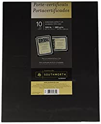 Southworth Certificate Holder, 9.5 x 12 Inches, 105 lb., Black Linen Finish, 10 Count (PF18)