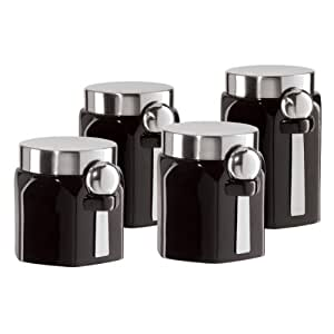 oggi kitchen canisters amazon com oggi ceramic 4 piece hexagon canister set with stainless steel spoon and lid black 9052