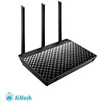 Asus Dual-Band WiFi Mesh Router (AC1750) with 1GHz CPU Technology for speeds up to 1750Mpbs with AiProtection Network Security, Parental Control and Supports AiMesh (RT-AC66U B1)