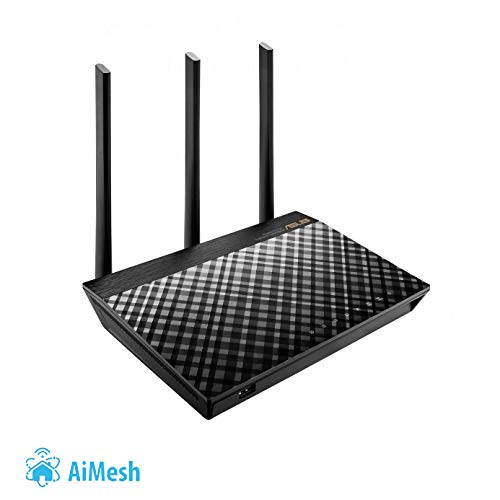 Asus Dual-Band WiFi Mesh Router (AC1750) with 1GHz CPU Technology for speeds up to 1750Mpbs with AiProtection Network Security, Parental Control and Supports AiMesh (RT-AC66U B1) by Asus