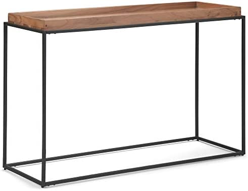 Simpli Home Sawhorse SOLID WOOD 66 inch Wide Modern Industrial Wide Console Sofa Entryway Table in Dark Chestnut Brown , for the Living Room, Entryway and Bedroom