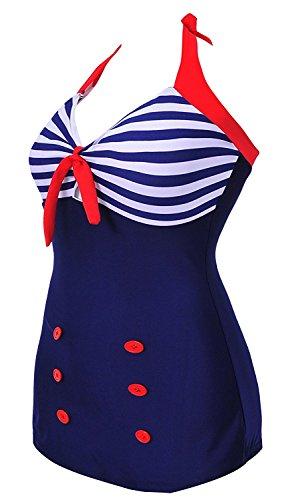 a4324edf4240d Dearilin Distinctive Women One Piece Swimsuit Swimwear Sailor Navy Stripe  Halter Neck Vintage Polka Style Sailor Stripe-blueXXXX-Large