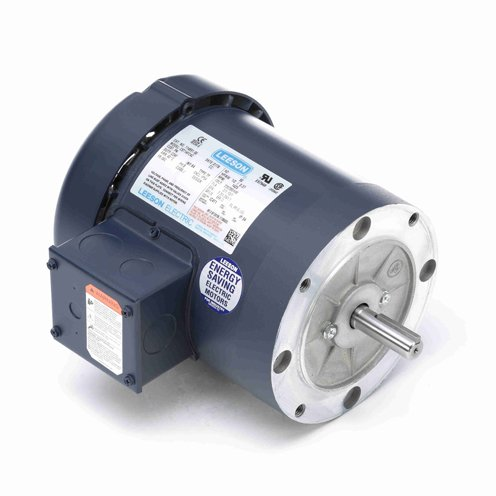 Leeson Electric 114895.00 - General Purpose Motor- Special Voltage - 3 ph, 1 hp, 3000 rpm, 220/380/440 V, 56C Frame, Totally Enclosed Fan Cooled Enclosure, 50 Hz, Round Mount