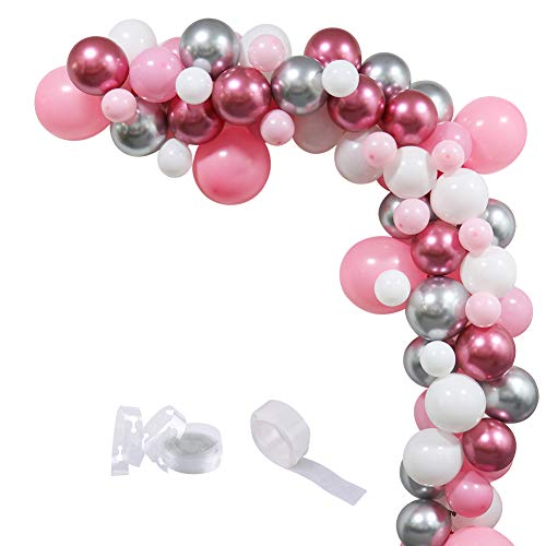 85 Pcs DIY Balloons Garland Set with Latex Pink Shiny Metallic Silver Red Balloons for Birthday Party Baby Shower Wedding Anniversary Party Supplies]()