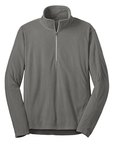Joe's USA - Mens Microfleece 1/2-Zip Pullover Sweatshirt-Pearl Grey-L