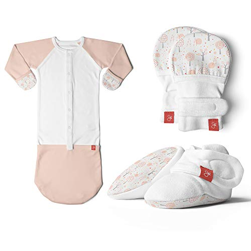 (Newborn Baby Mittens, Booties & Sleep Sack Pajamas Bundle, Organic, Soft & Adjustable (Magical Woods/Poppy, 0-3 Months))