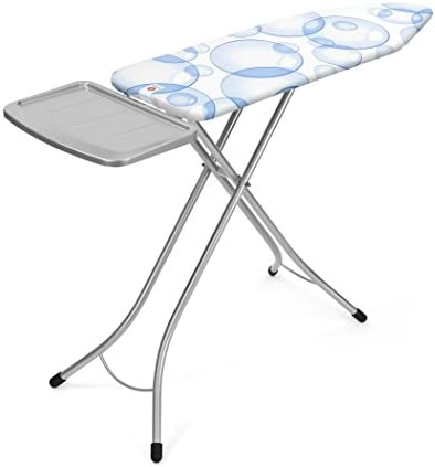 Brabantia Bubbles Ironing Board with Perfect Flow Cover and Solid Steam Unit Holder, L 124 x W 38 cm, Size B