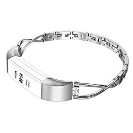 Wearlizer Compatible for with Fitbit Alta Bands Small Silver Rose Gold Fitbit Alta hr Women Metal Re