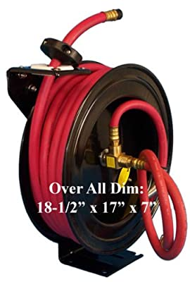 "1/2"" X 50' Retractable Air Hose Reel Wall Truck Mount"