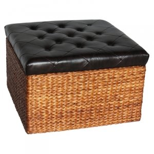Amazoncom Rush Large Versatile Woven Trunk With Vinyl Tuffed Top - Woven trunk coffee table