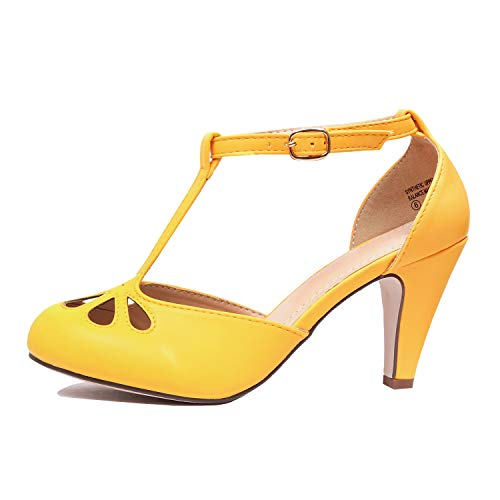 - Chase & Chloe KIMMY-36 Womens Teardrop Cut Out T-Strap Mid Heel Dress Pumps, Color:Yellow, Size:8.5