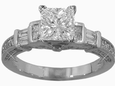 1.52 ct. Princess Cut Diamond Antique Style Engagement Ring Platinum Size 12