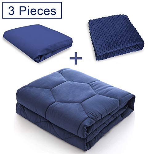 Cheap YEMYHOM 100% Breathable Weighted Blanket with 2-Pieces Removable Duvet Covers for Different Temperature Needs | Heavy Blankets for Adult or Kids | 15 lbs 48