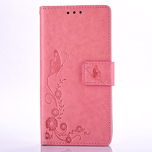 Huawei Y3 II / Y3 2 Case, Huawei Y3 II / Y3 2 Leather Case, Huawei Y3 II / Y3 2 Wallet Case,Cozy Hut Retro Vintage Embossed Plum Blossoms Pattern Pu Bookstyle Strap Leather Wallet Flip Protective Case Pink butterfly flower