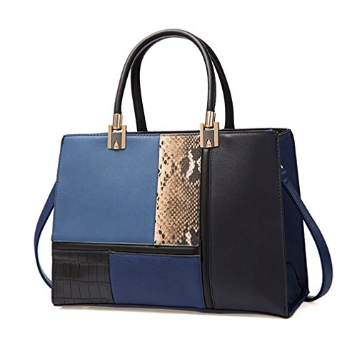 Women Bag Stitching Fashion Ladies Handbag Luxury Women Bags blue by Yardar