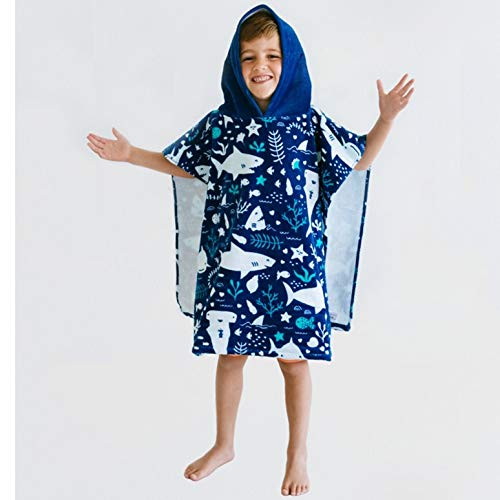 Baba & Bear Hooded Towel for Kids Swimsuit Cover Up for Beach, Pool, Bath (Shark) -