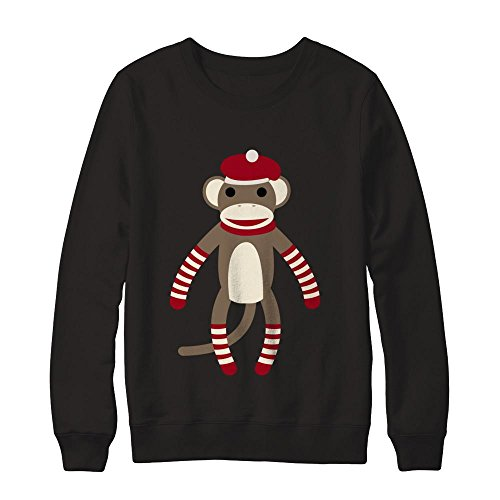 - Teely Shop Men's Cute Classic Striped Sock Monkey Gildan - Pullover Sweatshirt/Black/XL