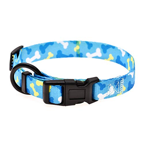 Mile High Life | Dog Collar | Cute Patterns | Soft Smooth Fabric | Small/Medium/Large (Blue Bone, Mediun Neck 14