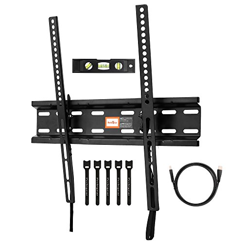 Tilting TV Wall Mount Bracket Low Profile for Most 23-55 Inch LED, LCD, OLED, Plasma Flat Screen TVs with VESA up to 400x400mm - Bonus HDMI Cable, Bubble Level and Cable Ties by Perlegear (Tv Flat Screen 48 Inch)