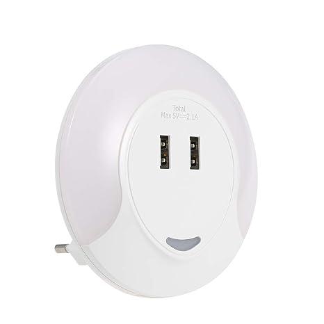 PAVLIT Dual USB Cargador con Luz Nocturna de Luz-Sensor, Auto Sensor de Luminosidad