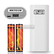 NKTECH Mini E4s LCD External Power Bank Charger Box For iPad MP3 Tablet iPhone Samsung SONY Android Cell Phone and 2Pcs TrustFire 18650 3000mAh Battery