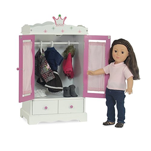 18 inch doll wish crown storage doll armoire closet furniture fits 18 american girl dolls storage for 18 inch doll clothes dresses - American Girl Doll Armoire