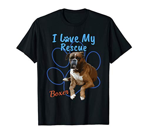 I Love My Rescue Boxer Cool Adopted Dog T-Shirt