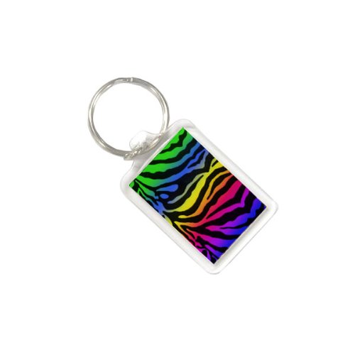 (Acrylic Keychain in Bright Animal Print Pattern - Rainbow Zebra)