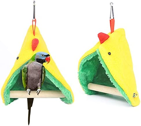 XINGX Hamaca para loro, hamaca para pájaros, con palillo de pie, con nido de loro de pico y triángulo, hamaca pequeña para colgar, para jaula de peluche