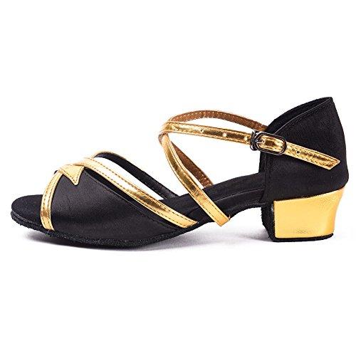 Schuhe Mädchen Tanzschuhe HROYL 206 Dance Latin Modell Schwarz Satin Ballsaal DS wfgSqZxSI
