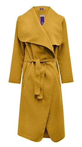 Cape Manteau Long Pour Ceinture Amberclothing Moutarde Femme Style Jaune Avec Manches Sans qtA5w